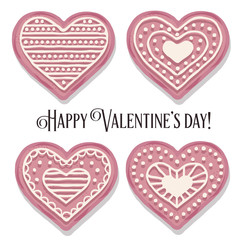 Pink heart cookies collection for Valentine's day
