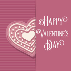 Valentine's day  card with pink heart cookie