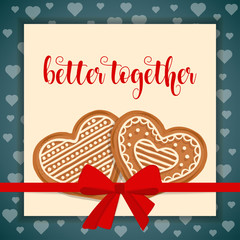 Sweet love card with gingerbread hearts