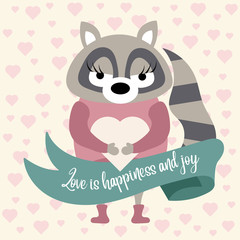 Cute raccoon in love