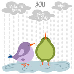 Funny love  card with birds