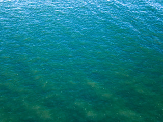 Ocean surface landscape from bird's eye drone view. Natural sea turquoise background. Copy space. Top view.
