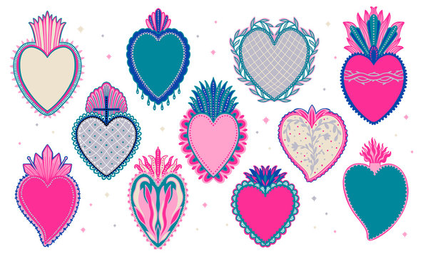 Set Sacred mexican spirit color. Soul symbol religion. Decoration emblem holy heart.Sacramental religion.