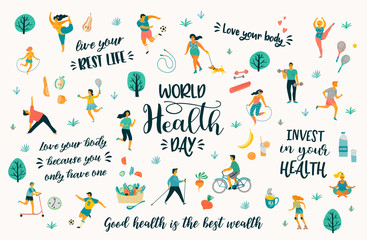 World Health Day. Vector illustration with people leading an active healthy lifestyle and quotes. Wall mural