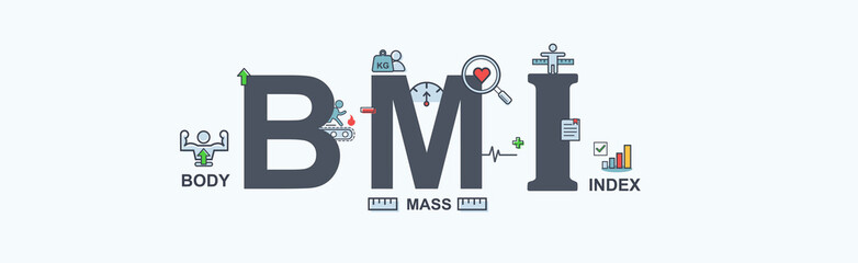 BMI body mass index banner web icon for presentation, body weight, heart rate, measurement and height. Minimal vector infographic.