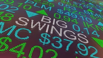Big Swings Stock Market Ups Downs Turmoil 3d Illustration