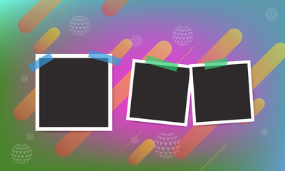 Elegant trendy flowing, fluid and liquid cover design background with photo frame. Illustrated vector.