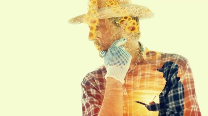 Wall Mural - Double exposure sunflower farming conceptual footage with male farmer and female agronomist in blooming sunflower field