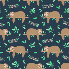 Seamless pattern of sleepy cute sloths in the night. Hand-drawn illustration of sloth for kids, tropical summer, nursery, textile, texture, print, cover, clothes, fabric. Transparent background