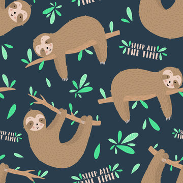 Seamless pattern of sleepy sloths in the night. Hand-drawn illustration of sloth for kids, tropical summer, nursery, textile, texture, print, cover, wallpaper, fabric. Transparent background