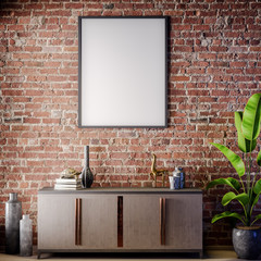 Mock up poster frame in Interior with Brick wall, Loft style, 3D illustration