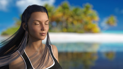 Woman on a desert island enjoying relaxation and tranquility 3d render