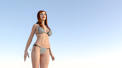 bikini woman and blue sky 3d render
