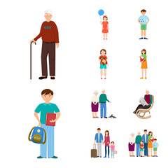 Isolated object of family  and people symbol. Set of family  and avatar  vector icon for stock.