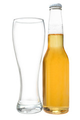 Beer bottle and glass cup for beer