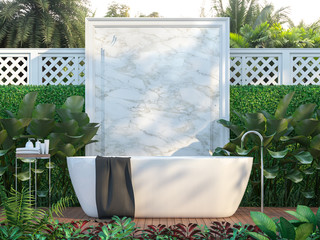 Luxury outdoor bathrooms surrounded by nature 3d render,  There is a wooden floor ,White marble wall backdrop,furnished with white bathtub.