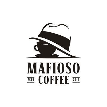 Coffee Cup Mafia Mafioso Hat Crime logo design