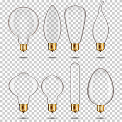 Wall Mural - Set of Realistic empty transparent light bulb, isolated.