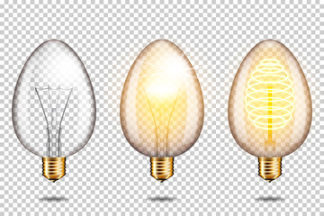 Wall Mural - Set of Realistic transparent glowing egg light bulb, isolated.