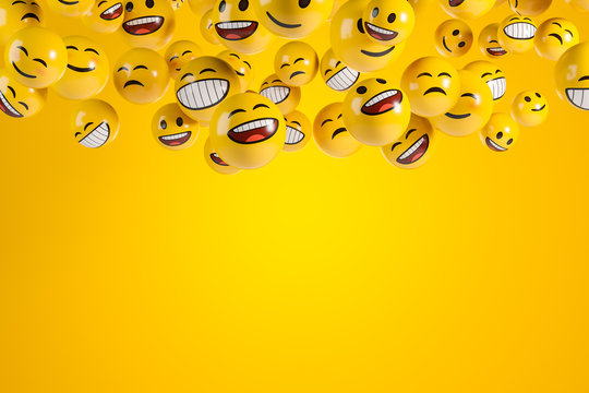 Falling emoji characters on the yellow background.