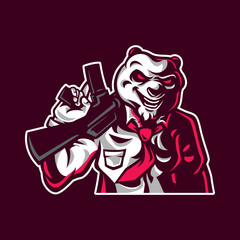 Panda shooter mascot