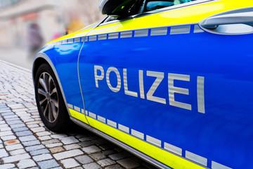Polizei sign on a German police car