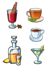 Set of a drinks illustrations