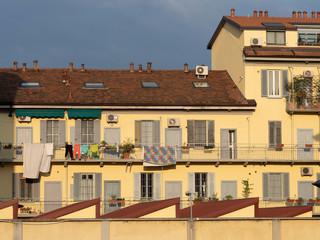 Old houses along corso Lodi in Milan, Italy