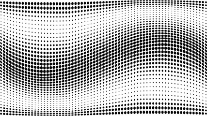 Halftone gradient pattern. Abstract halftone dots background. Monochrome dots pattern. Grunge texture. Pop Art, Comic small dots. Wave twisted dots. Banner with space. Template for cover, card, flyer