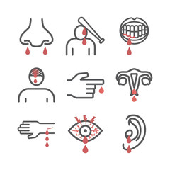 Bleeding. Infographic. Vector signs for web graphics.