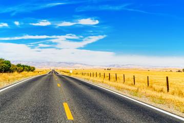 Endless American asphalt roads in Arizona state.