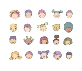 Faces of children. Cute cartoon boys and girls of different nationalities. Avatars set of funny kids. - Vector
