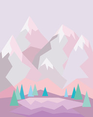 pink mountain landscape with lake and trees