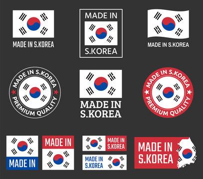 made in South Korea labels set, Republic of Korea product emblem