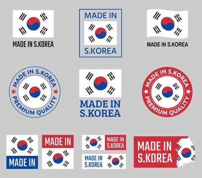 made in South Korea icon set, Republic of Korea product labels