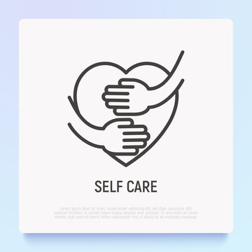 Self care thin line icon: hands hug heart. Modern vector illustration.