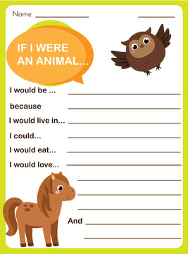 Writing prompt for kids blank. Educational children page. Develop fantasy and writing stories skills. Animals theme