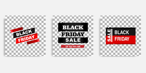 Black Friday sale promotion design background vector illustration in black red white frame color. Editable square abstract geometric shape banner template for social media post, stories, story, flyer.