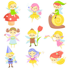Cute fairy. Garden elf and pixie. Little people. Beautiful girls and bys in winged flying costumes. Vector Set of cartoon fantasy chartacters