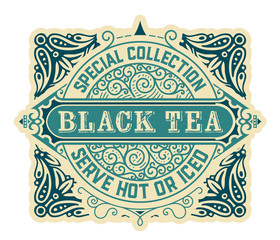 Black Tea label. Vintrage style