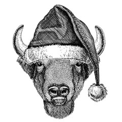 Buffalo, bison,ox, bull wearing christmas Santa Claus hat. Hand drawn image for tattoo, emblem, badge, logo, patch