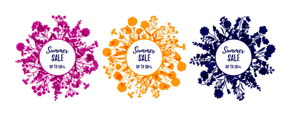 Set of silhouette floral frames isolated on white. Summer sale labels. Vector illustration