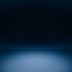 Squared blue background template for product display. Photo abstract studio workshop room with copy space. Wall, floor, table. spot light