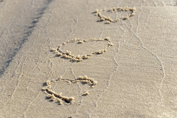 heart painted on the sand