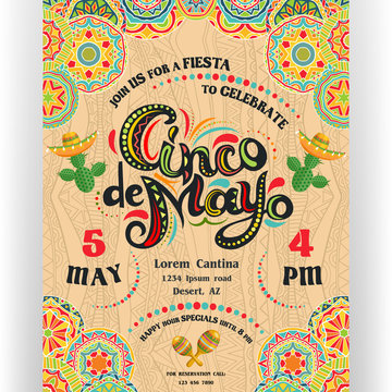 Cinco De Mayo announcing poster template with ornate lettering and cactuses in sombrero.