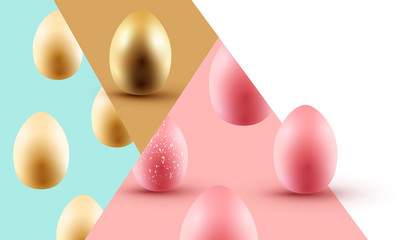 Abstract Happy Easter Design With Easter Eggs