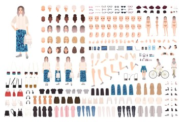 Wall Mural - Fashionable girl animation kit or DIY set. Bundle of body parts, clothes and accessories. Trendy street style outfit. Female cartoon character. Front, side, back views. Flat vector illustration.