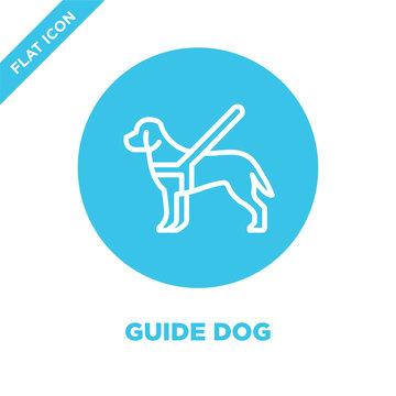 guide dog icon vector from accessibility collection. Thin line guide dog outline icon vector  illustration. Linear symbol for use on web and mobile apps, logo, print media.