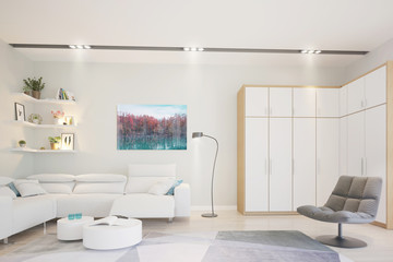 Modern bright living room, interior with chair, bookshelf and lamp