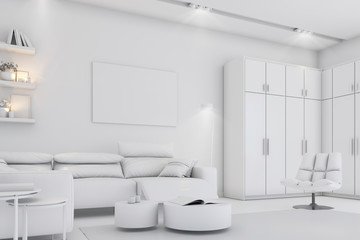 Modern white bright interior with sofa,chairs and lamp